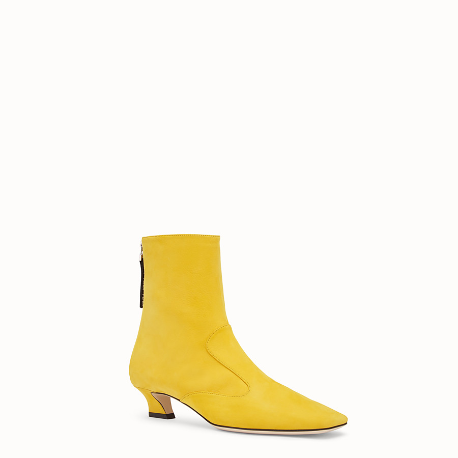 FENDI BOOTS - Yellow nubuck booties - view 2 detail