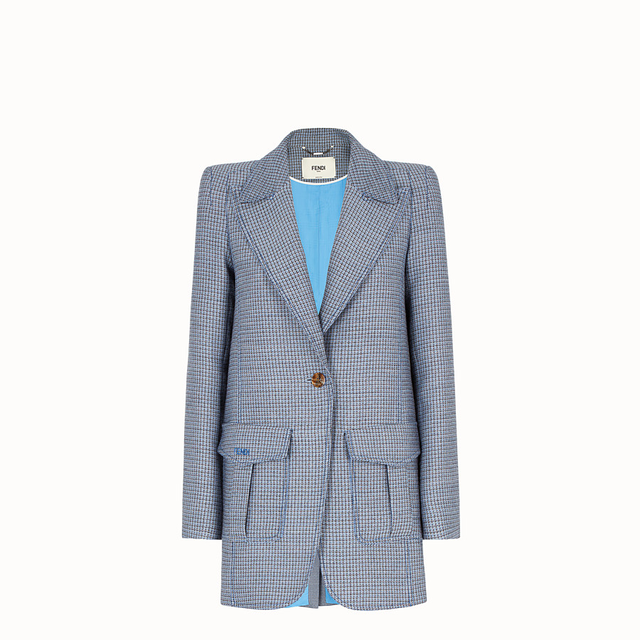 FENDI JACKET - Micro-check wool and silk blazer - view 1 detail