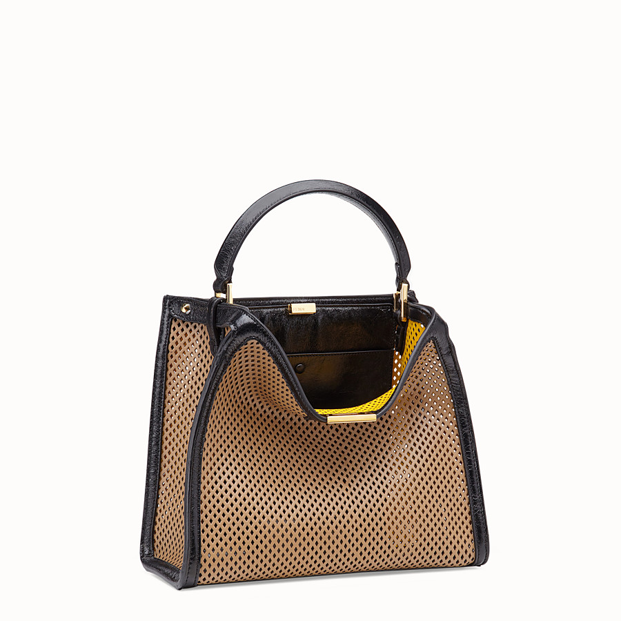 FENDI PEEKABOO X-LITE MEDIUM - Beige leather bag - view 4 detail