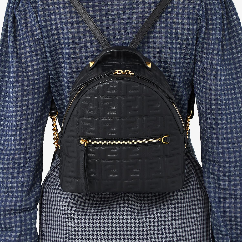 FENDI MINI BACKPACK - Black leather FF backpack - view 2 detail