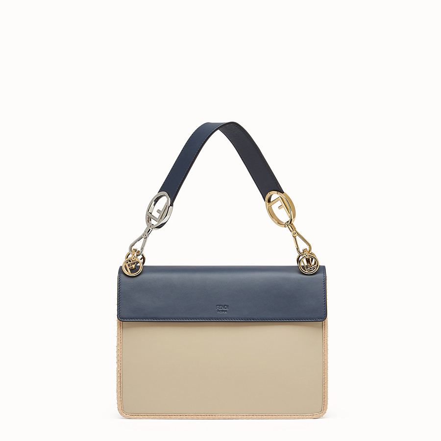 FENDI KAN I F - Pale blue leather bag with exotic details - view 3 detail