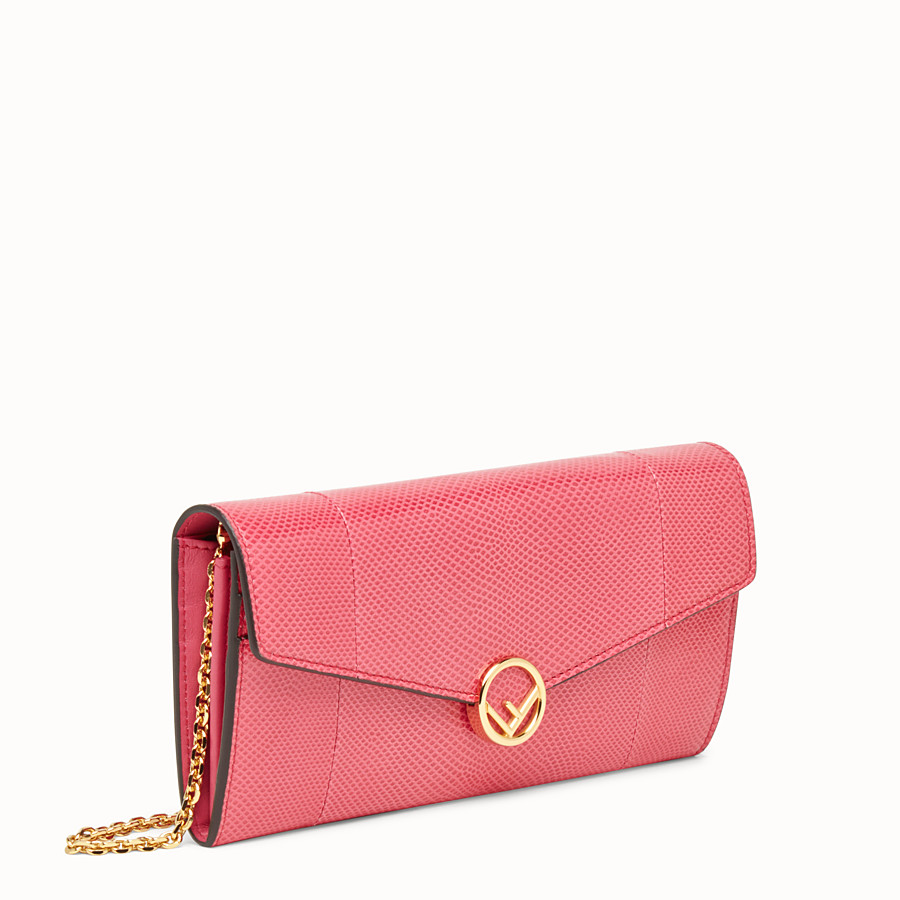 FENDI CONTINENTAL WITH CHAIN - Pink karung wallet - view 2 detail