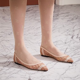 FENDI BALLERINAS - Colibrì in pink mesh and nude leather - view 5 thumbnail
