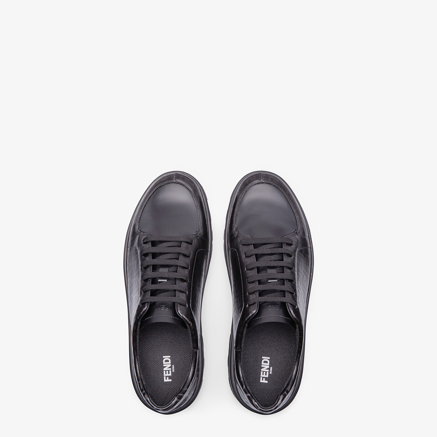 FENDI SNEAKERS - Black leather low-tops - view 4 detail