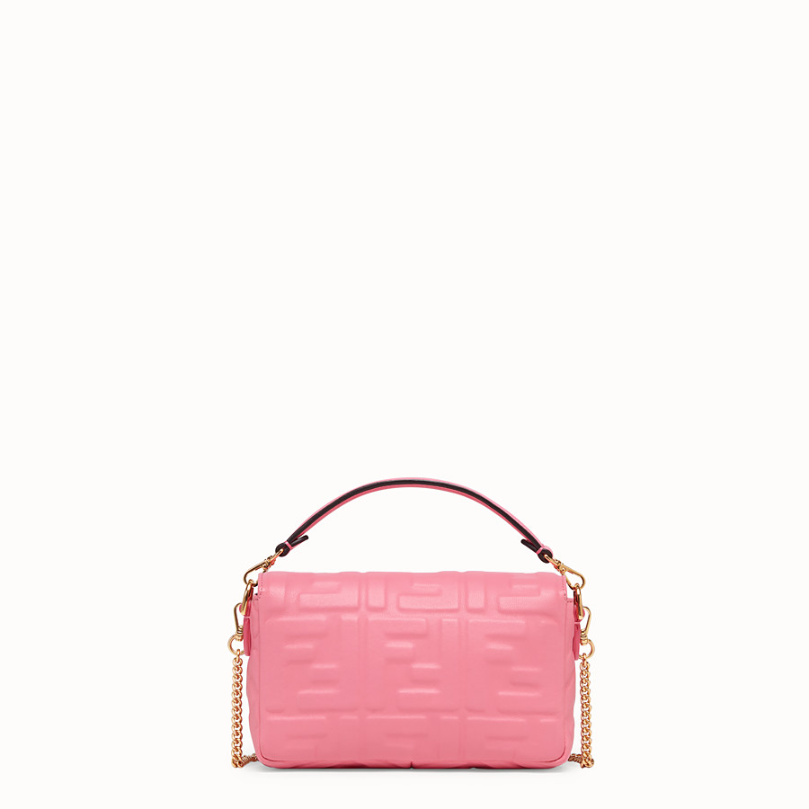 FENDI MINI BAGUETTE - Pink leather bag - view 3 detail