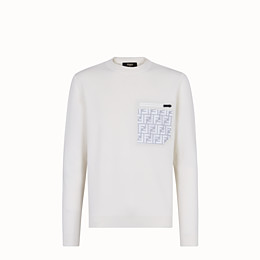 FENDI PULLOVER - White wool jumper - view 1 thumbnail
