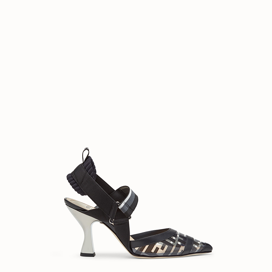 FENDI COURT SHOES - Slingbacks in PU and black leather - view 1 detail