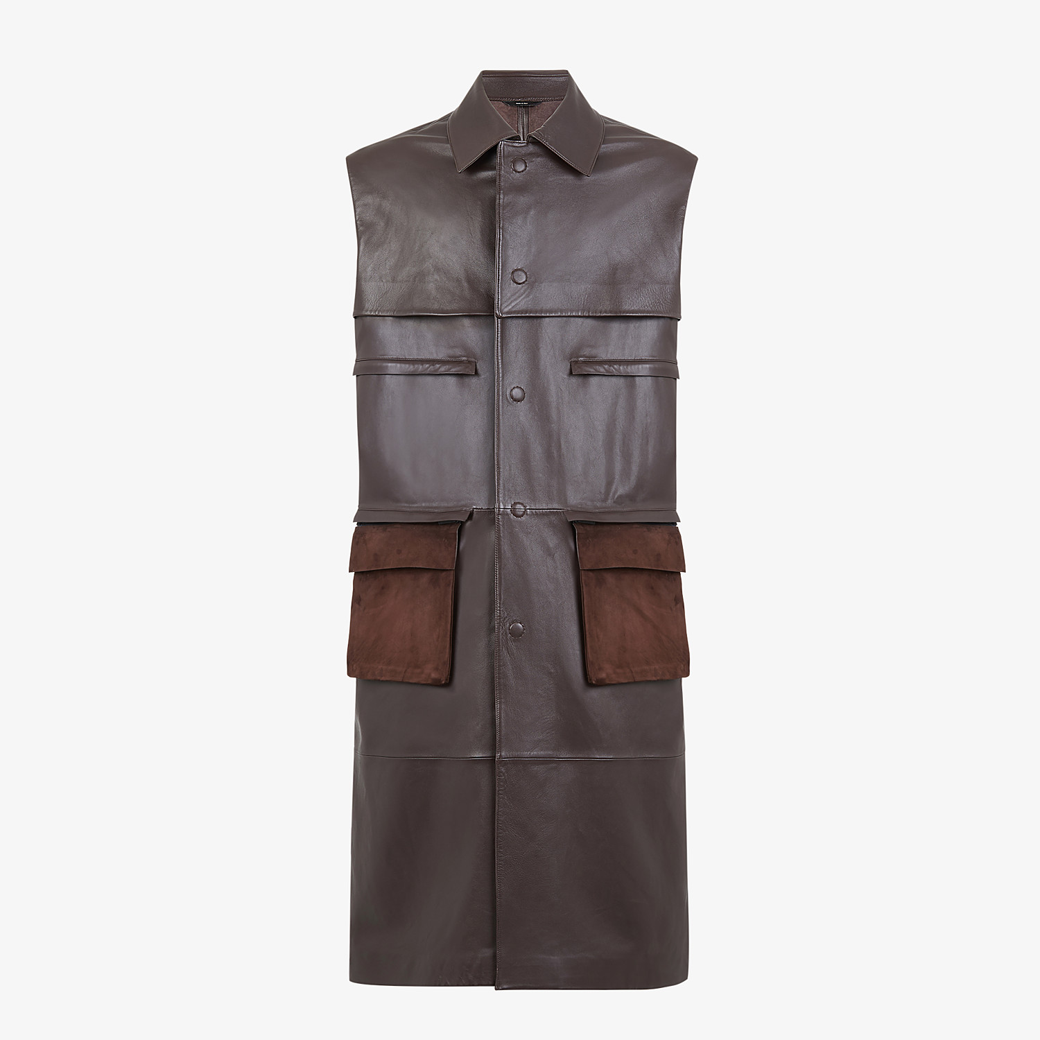 FENDI TRENCH COAT - Brown leather vest - view 1 detail