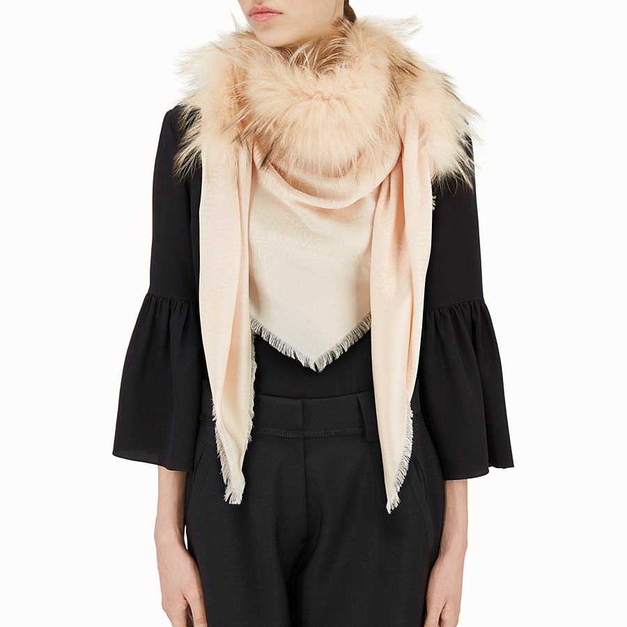FENDI TOUCH OF FUR SHAWL - Pink silk and wool shawl - view 3 detail
