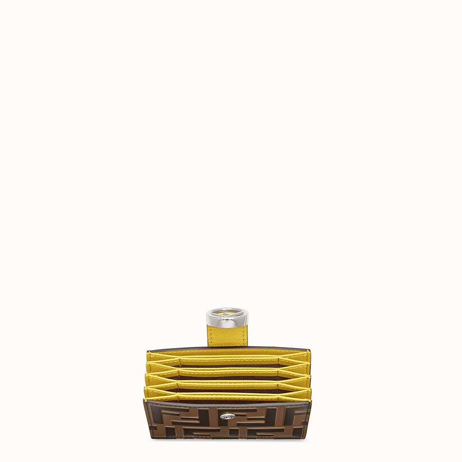 FENDI CARD HOLDER - Brown leather gusseted card holder - view 4 detail