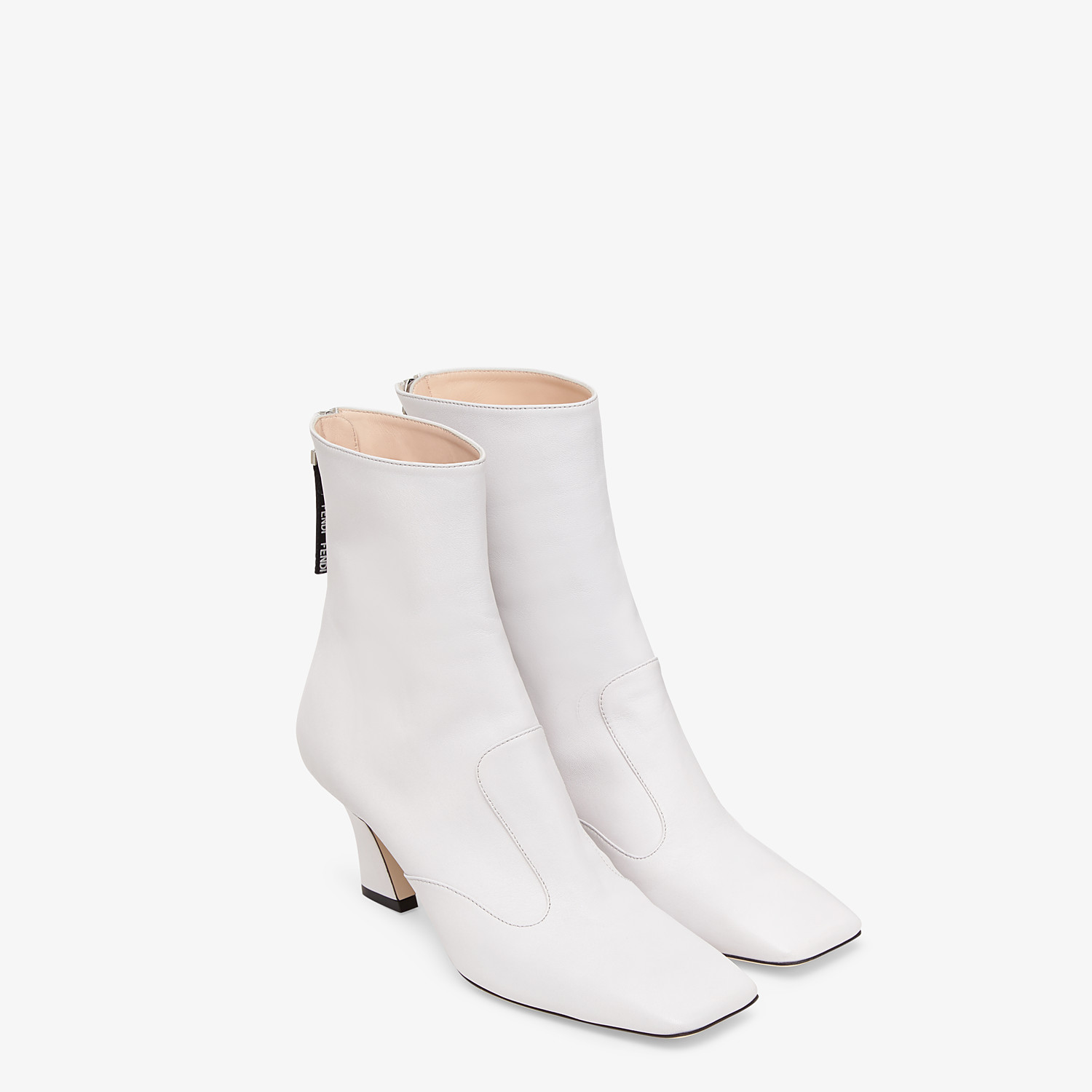 FENDI ANKLE BOOTS - White nappa leather booties - view 4 detail