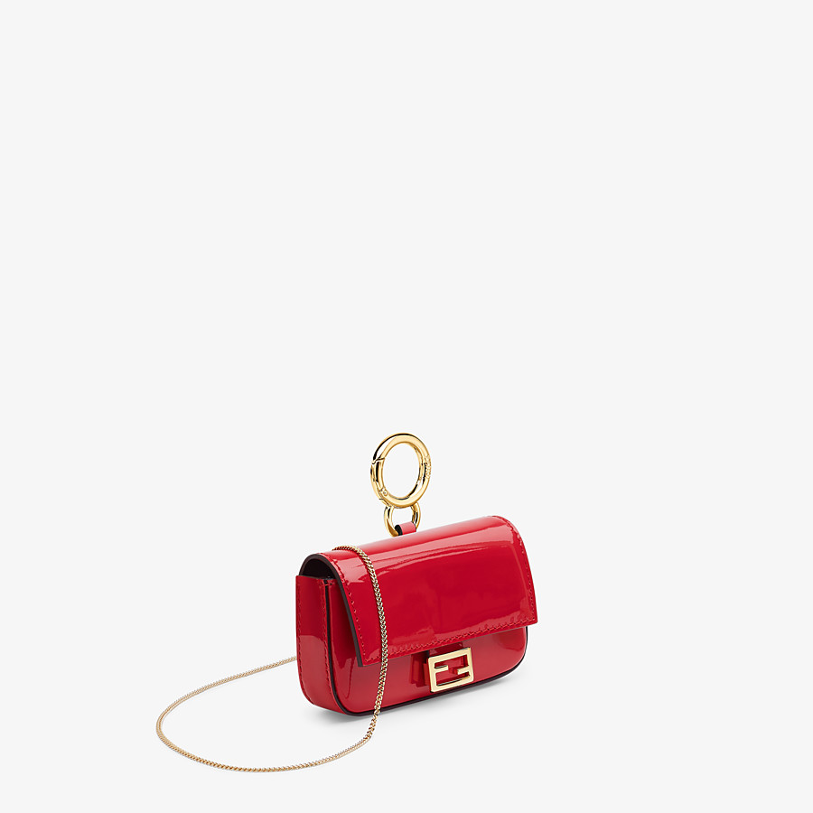 FENDI NANO BAGUETTE CHARM - Red patent leather charm - view 3 detail