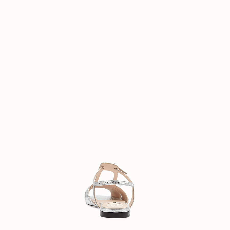 FENDI SANDALS - Silver leather flats - view 3 detail