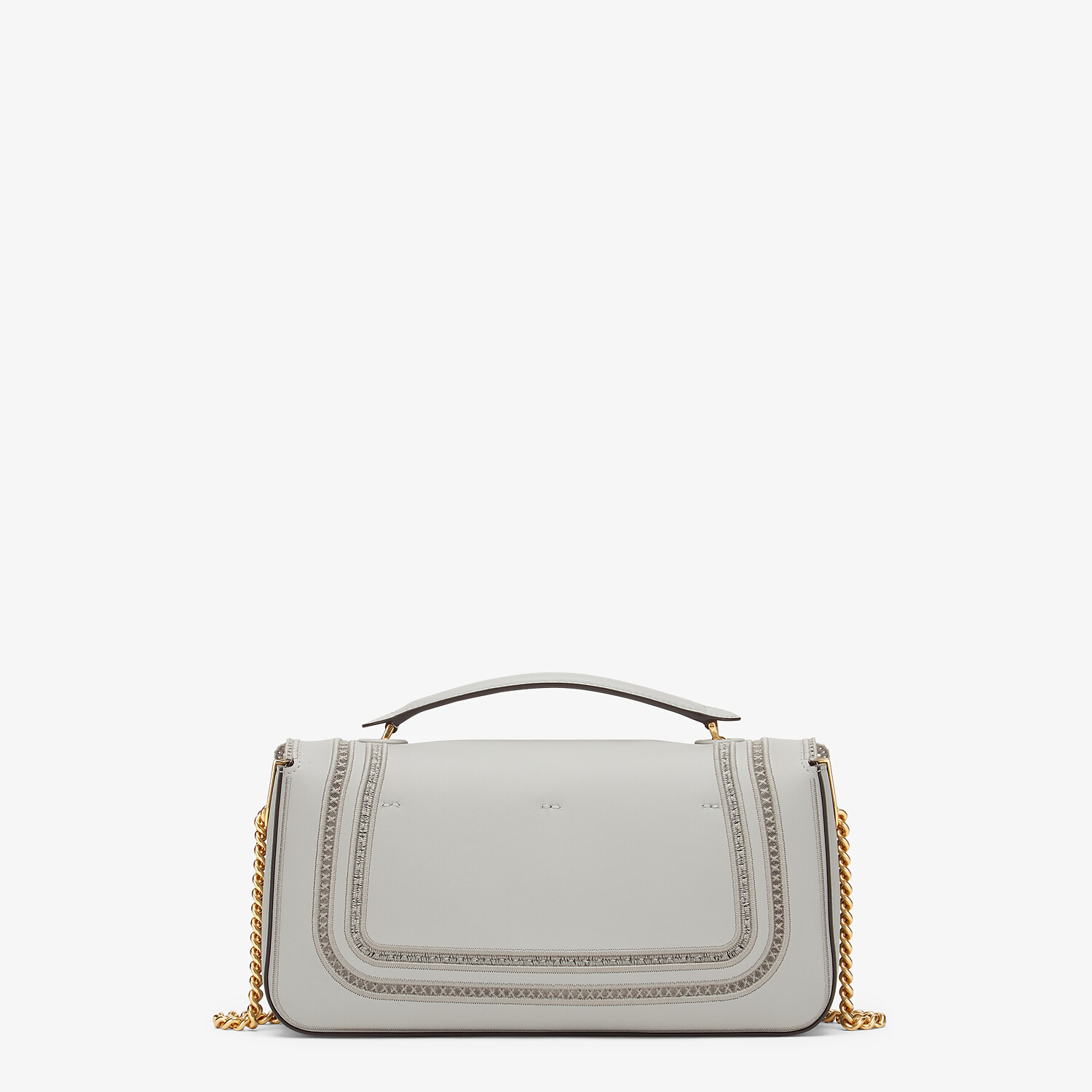 FENDI BAGUETTE CHAIN - Embroidered grey leather bag - view 3 detail