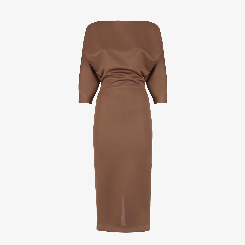 FENDI DRESS - Brown piqué jersey dress - view 1 detail
