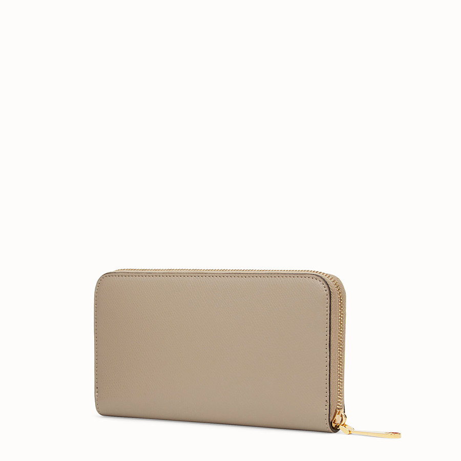FENDI ZIP-AROUND - Beige leather wallet - view 2 detail