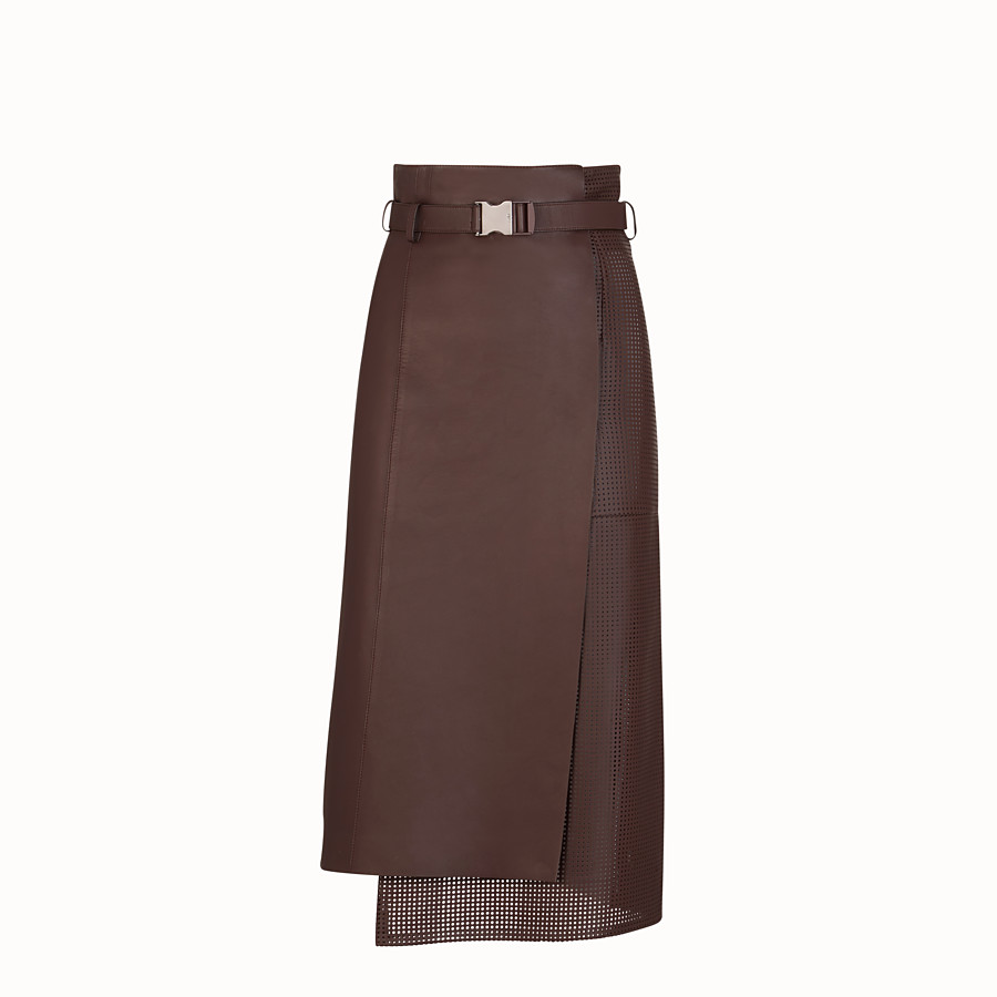 FENDI SKIRT - Brown nappa leather skirt - view 1 detail