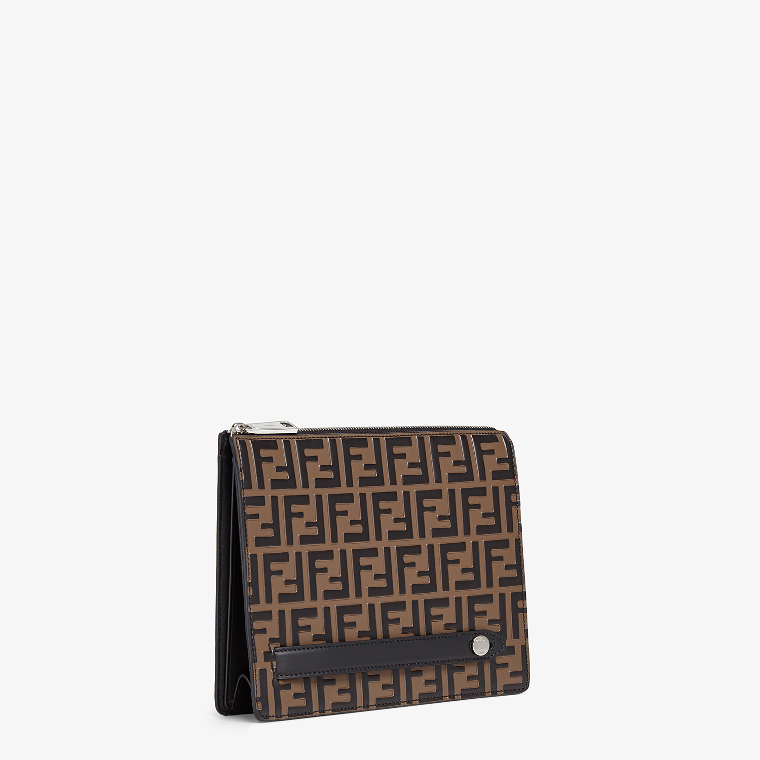 FENDI CLUTCH - Brown leather slim pouch - view 2 detail