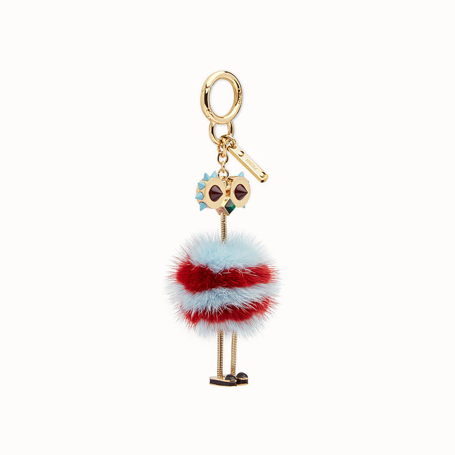 FENDI CHICK BAG CHARM - Charm in light blue and red fur - view 1 detail