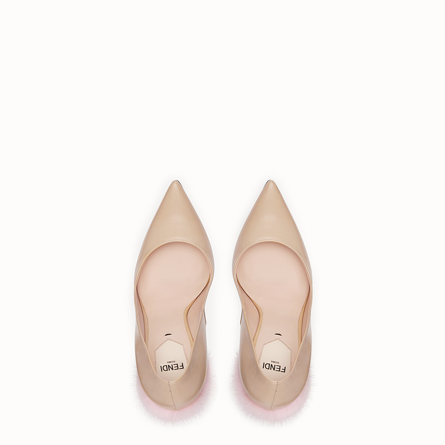 FENDI PUMPS - Beige leather court shoes - view 4 detail