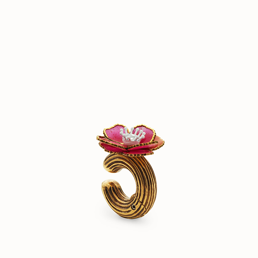 FENDI FLOWERS EARRINGS - Fuchsia enameled earrings - view 1 detail