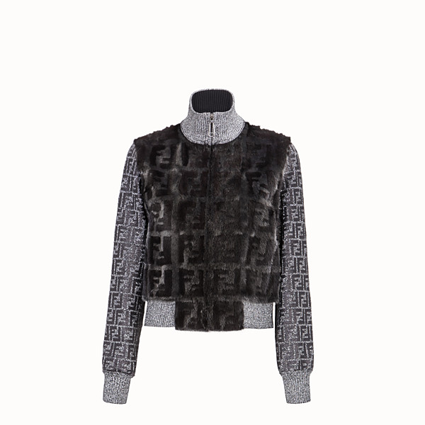 FENDI JACKET - Silver mink and knit bomber - view 1 small thumbnail