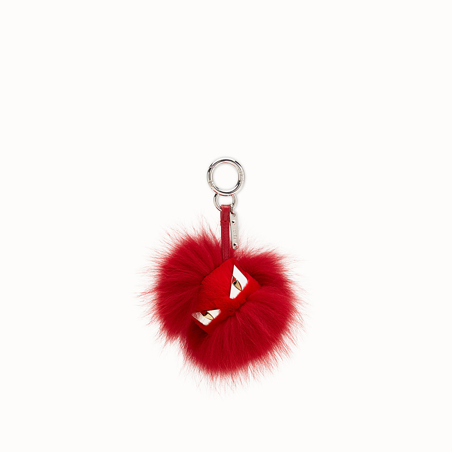 FENDI BAG BUGS CHARM - Red fur charm - view 1 detail