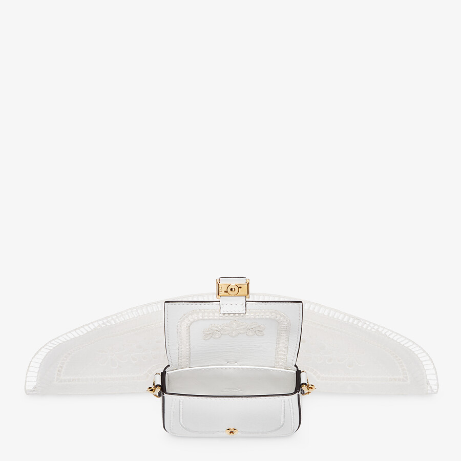 FENDI NANO BAGUETTE CHARM - White leather charm - view 4 detail