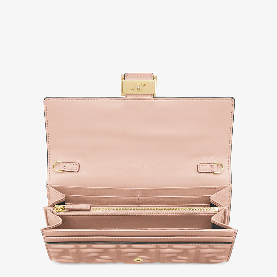 FENDI CONTINENTAL WITH CHAIN - Pink nappa leather wallet - view 4 detail
