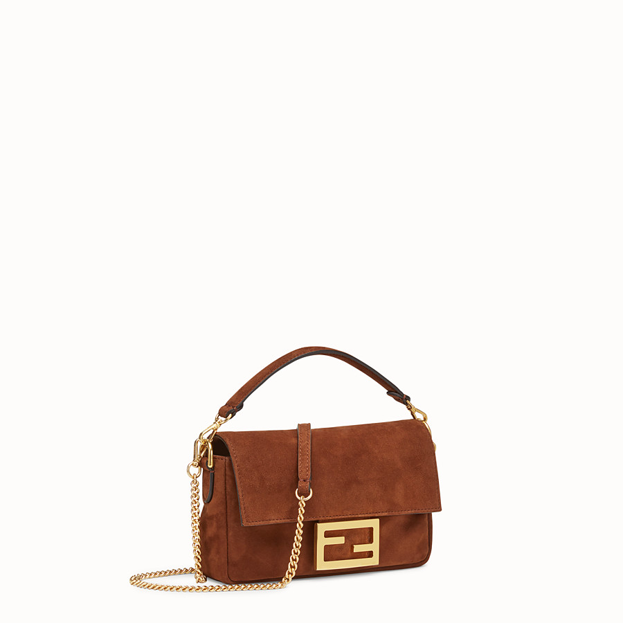 FENDI MINI BAGUETTE - Brown suede bag - view 2 detail