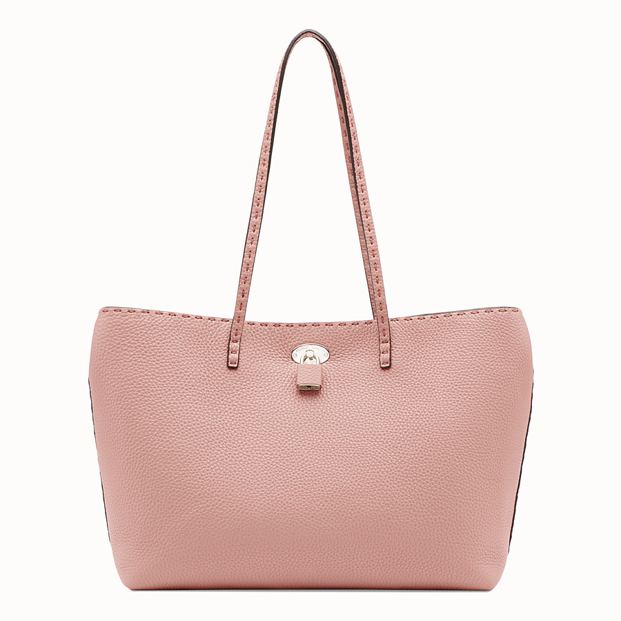 FENDI CARLA BAG SMALL - Pink leather bag - view 3 detail