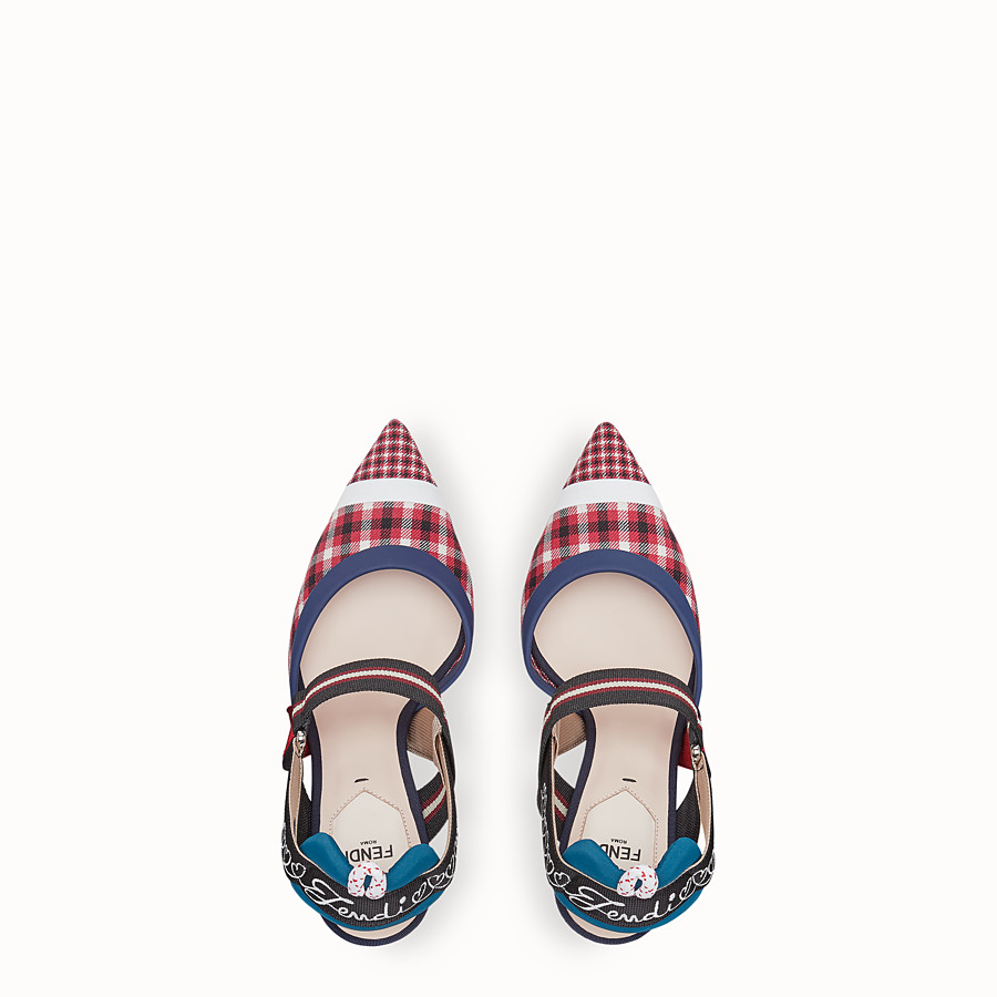 FENDI COURT SHOES - Multicolour wool slingbacks - view 6 detail