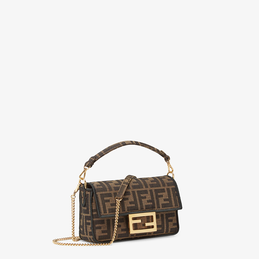 FENDI MINI BAGUETTE - Brown fabric bag - view 2 detail