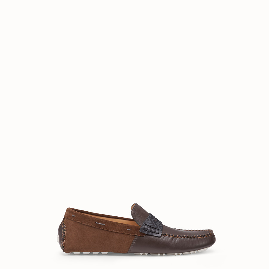 FENDI LOAFERS - Brown leather drivers - view 1 detail