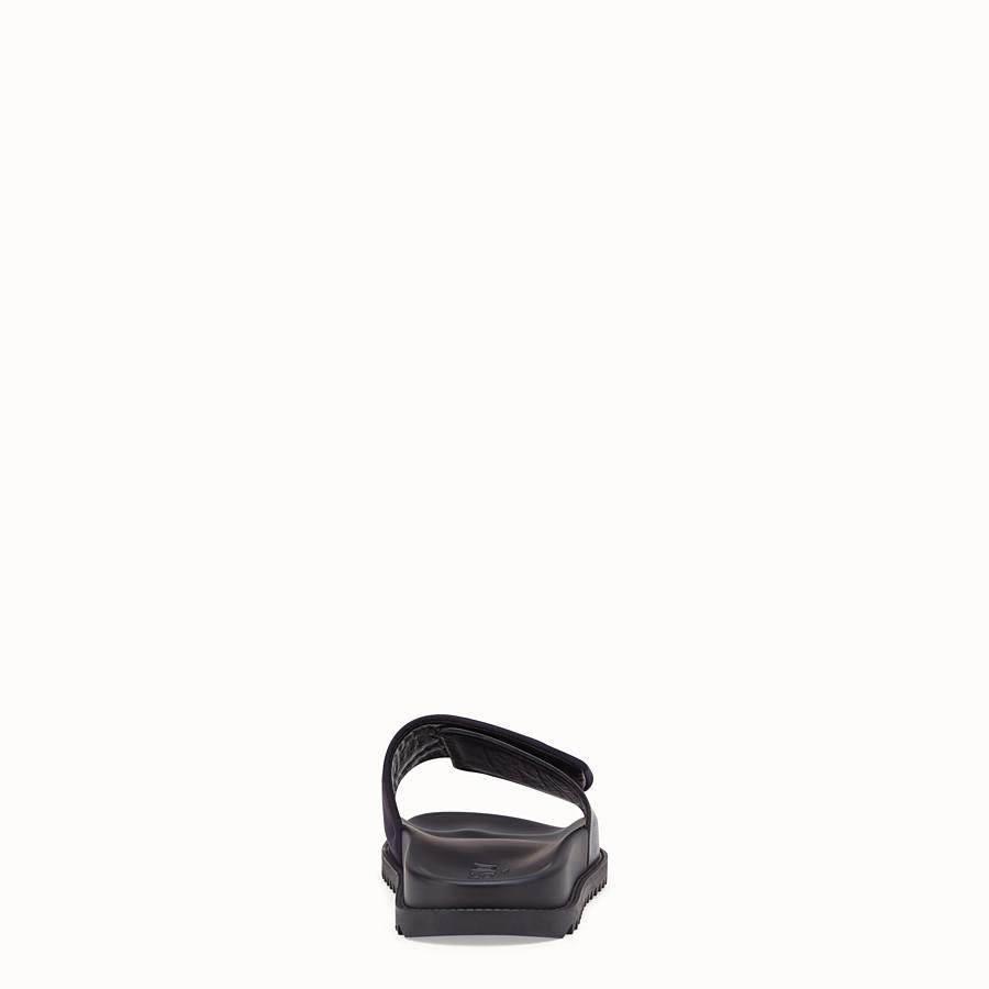 FENDI SLIDES - Black scuba and leather fussbetts - view 3 detail