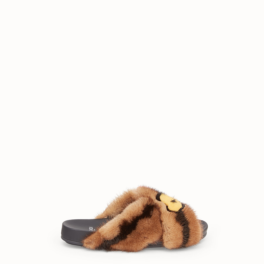 FENDI SANDALS - Multicolour fur slides - view 1 detail