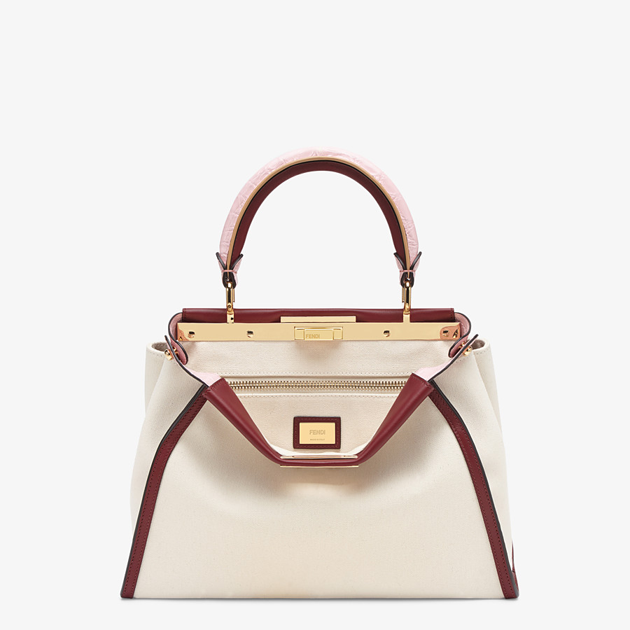 FENDI PEEKABOO ICONIC MEDIUM - White canvas bag with exotic details - view 1 detail