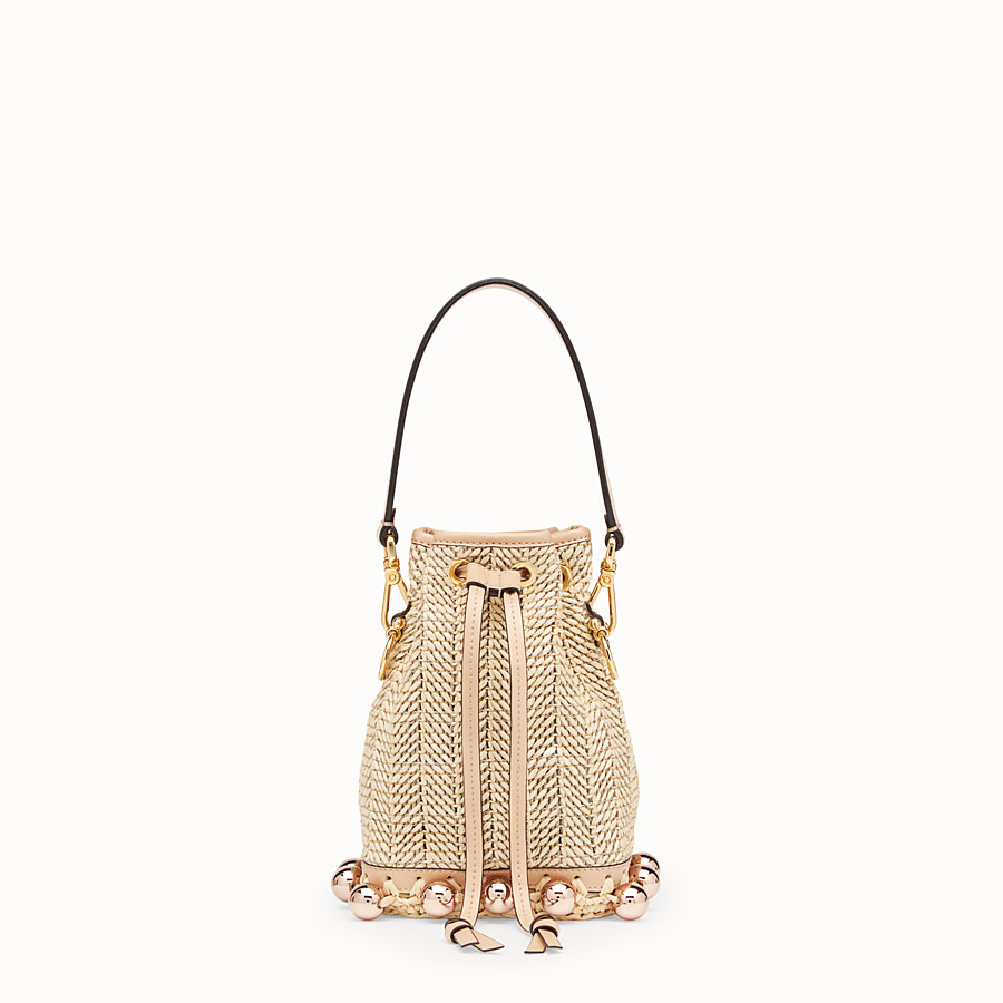 FENDI MON TRESOR - Raffia and beige leather mini-bag - view 1 detail
