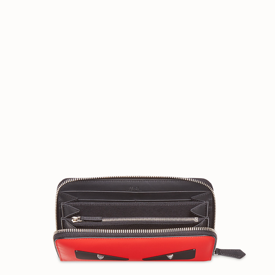 FENDI ZIP-AROUND - Red leather wallet - view 3 detail
