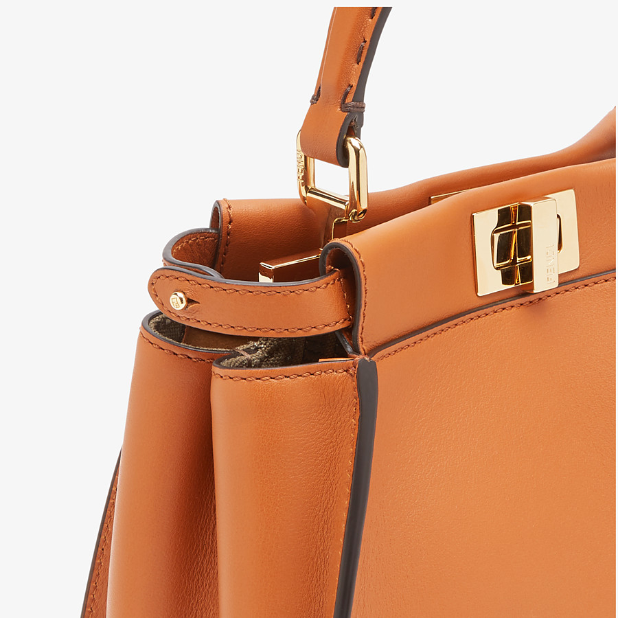 FENDI PEEKABOO ICONIC MINI - Brown leather bag - view 5 detail