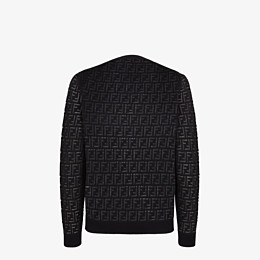 FENDI PULLOVER - Jumper in black nylon and wool - view 2 thumbnail