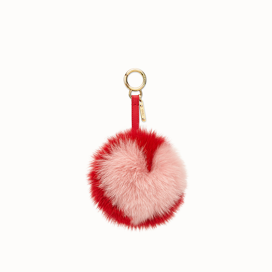 FENDI POMPOM CHARM - Charm in red and pink fur - view 1 detail