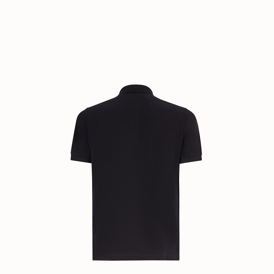 FENDI POLO SHIRT - Black cotton jumper - view 2 detail