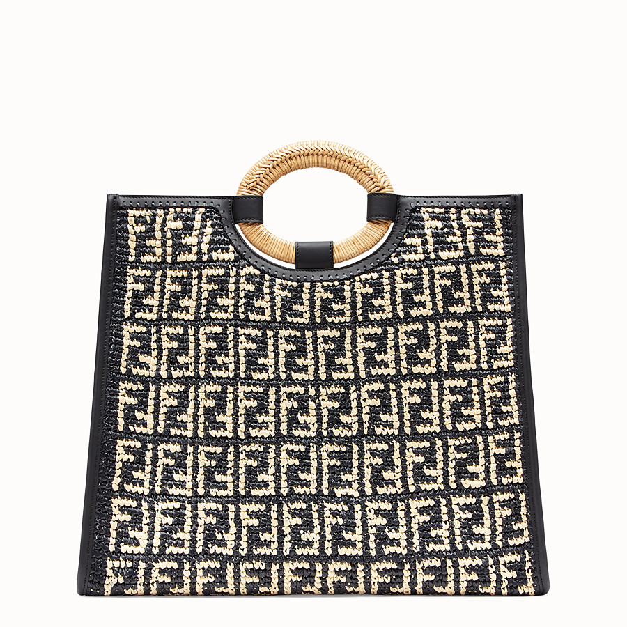 FENDI RUNAWAY SHOPPER - Multicolour raffia shopper - view 3 detail