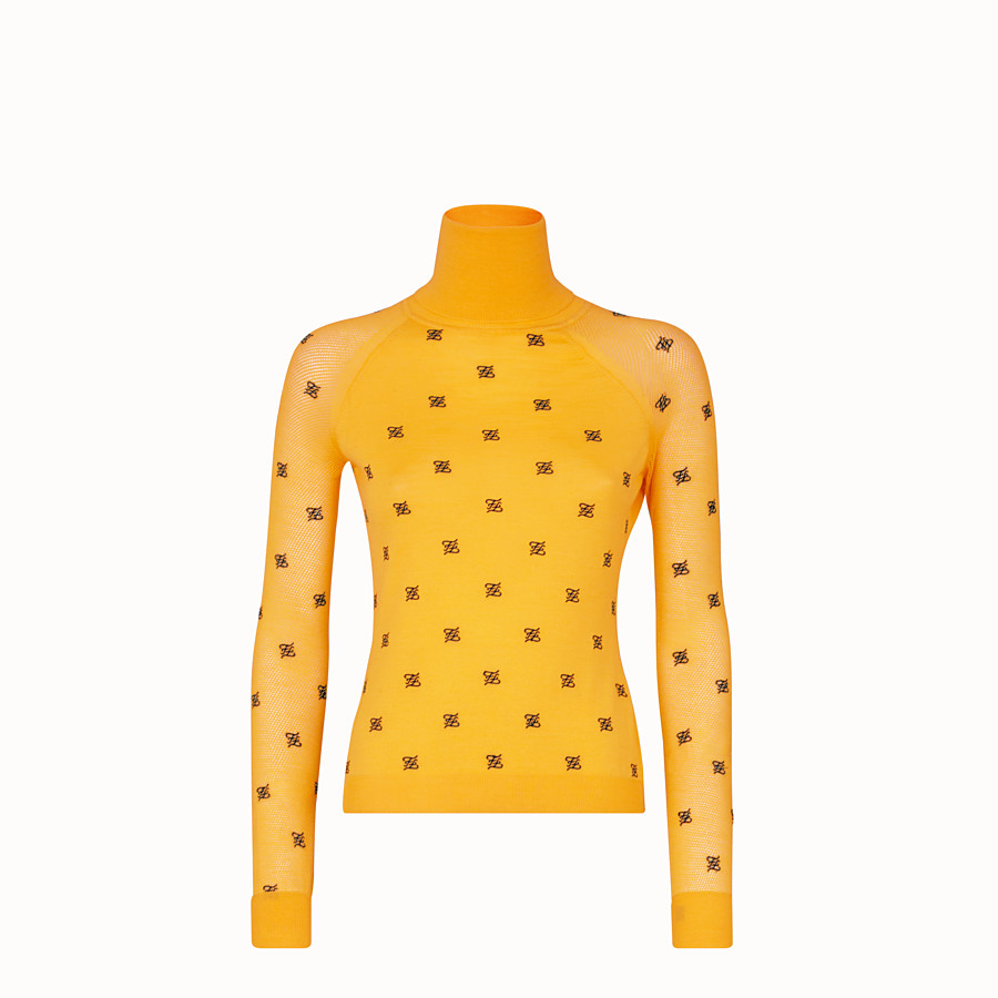 FENDI PULLOVER - Yellow wool and silk jumper - view 1 detail
