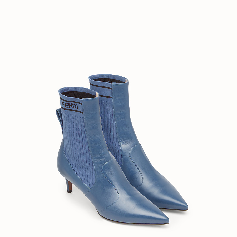 FENDI BOOTS - Blue leather booties - view 4 detail