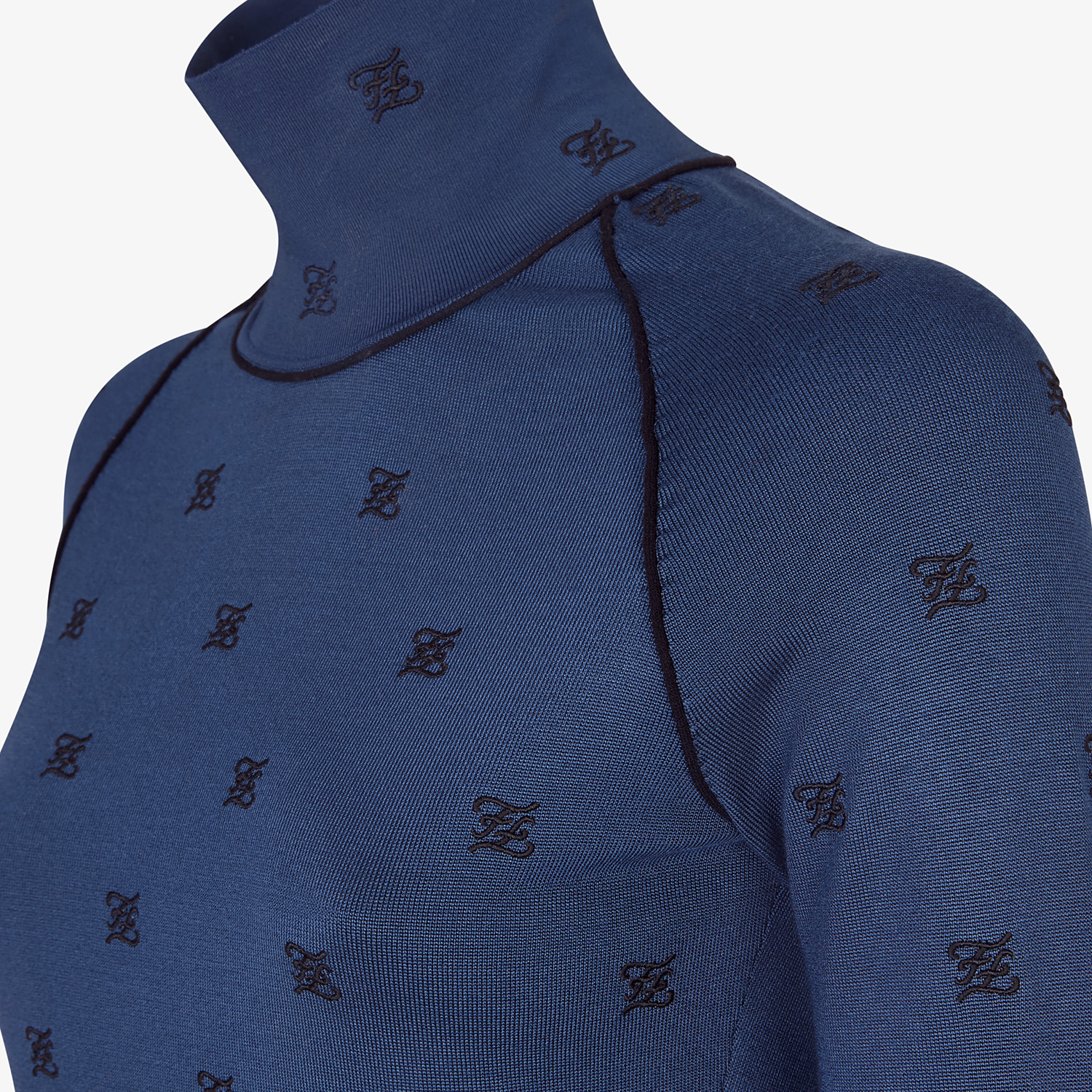 FENDI PULLOVER - Blue viscose jumper - view 3 detail
