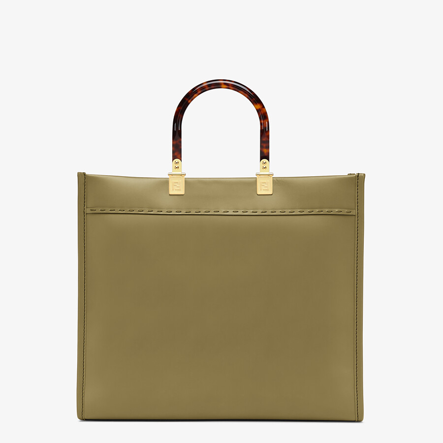 FENDI FENDI SUNSHINE MEDIUM - Green leather shopper - view 3 detail