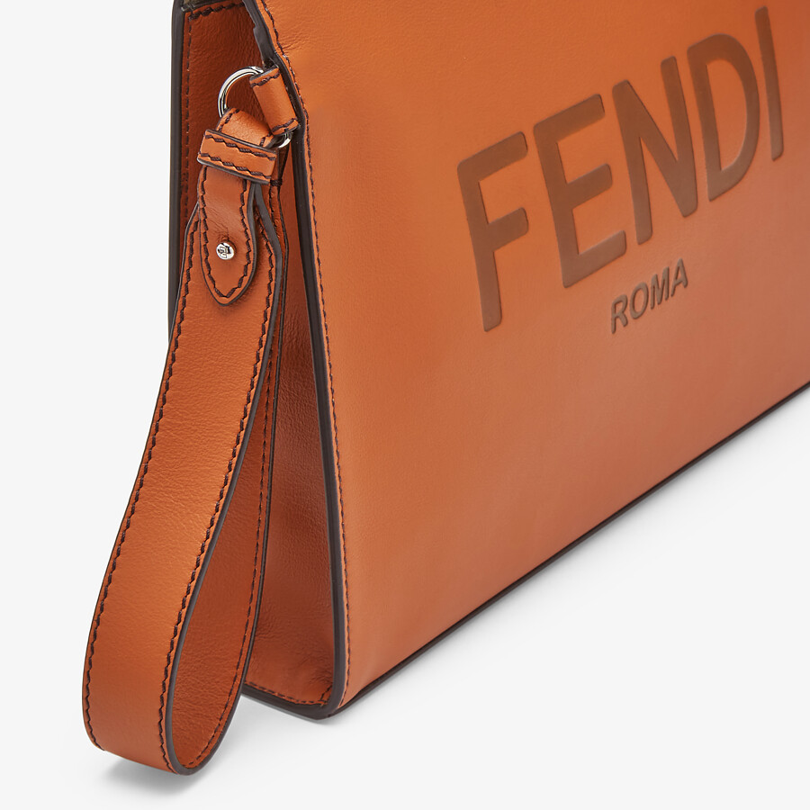 FENDI FLAT POUCH - Brown leather pouch - view 5 detail