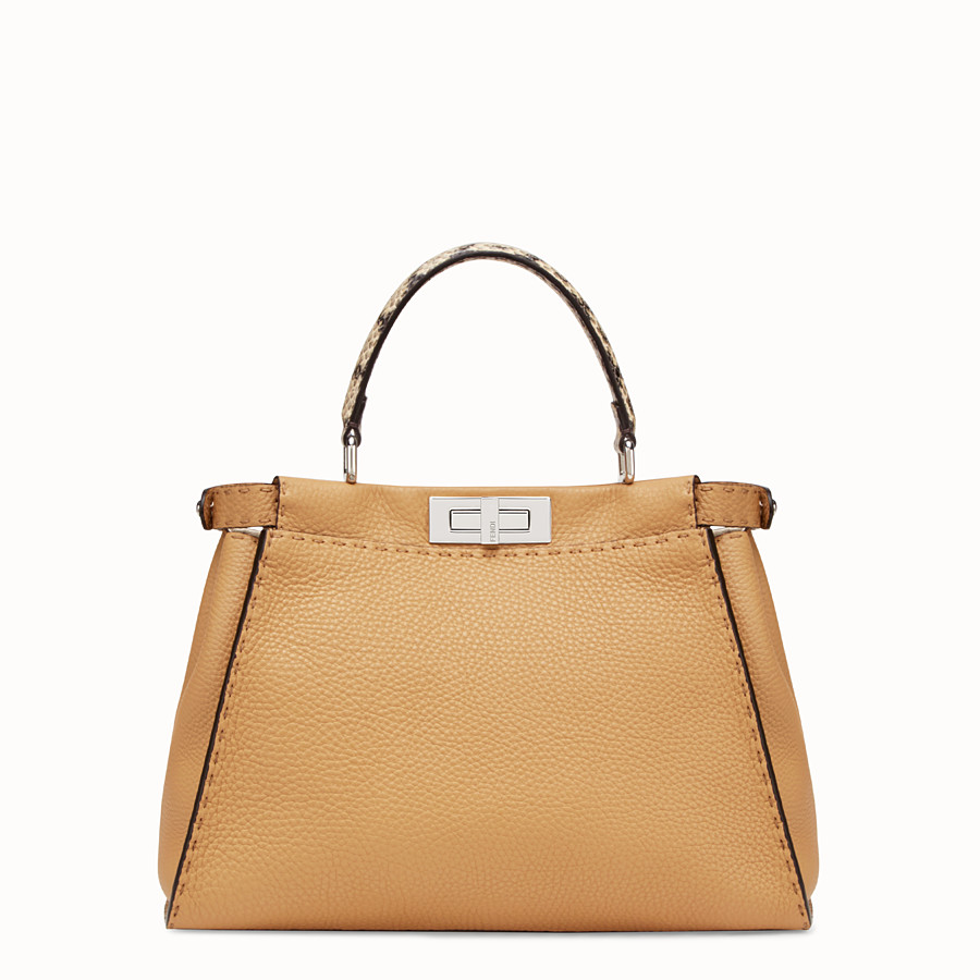 FENDI PEEKABOO REGULAR - Brown leather bag with exotic details - view 3 detail